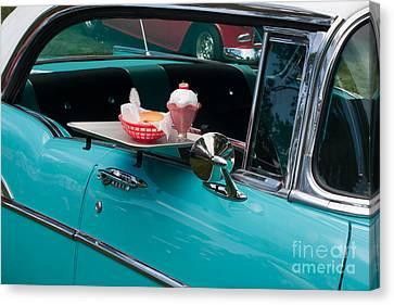 Canvas Print featuring the photograph Hamburger Drive In Classic Car by Gunter Nezhoda