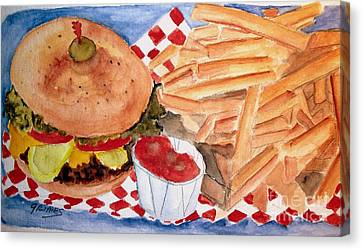Hamburger Plate With Fries Canvas Print by Carol Grimes