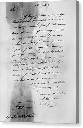 Hamilton: Letter, 1777 Canvas Print by Granger