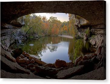 Hamilton Pool Autumn Colors - Texas Hill Country Canvas Print by Rob Greebon