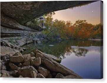 Hamilton Pool Autumn Moonset In The Texas Hill Country Canvas Print by Rob Greebon