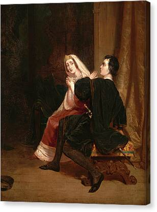 Hamlet And His Mother The Closet Scene Dated In Red Paint Canvas Print by Litz Collection