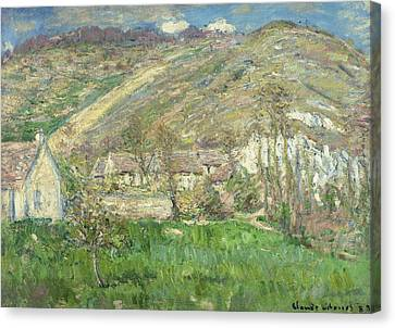 Hamlet In The Cliffs Near Giverny Canvas Print by Claude Monet