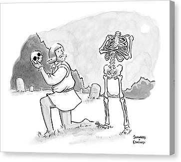 Hamlet Is Confronted By The Skeleton Whose Skull Canvas Print