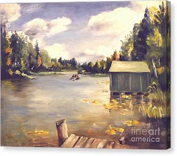 Hamlin Lake Dock 1945 Canvas Print