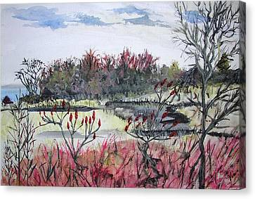 Hamlin Ontario Plein Aire Canvas Print by Judy Via-Wolff