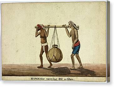 Hammals Carrying Oil Or Ghee Canvas Print