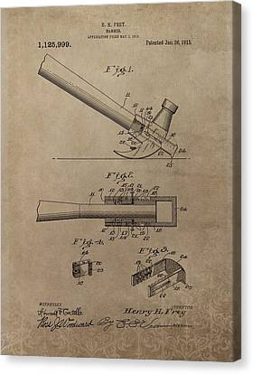 Hammer Patent Drawing Canvas Print by Dan Sproul