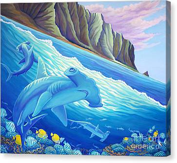 Hammerhead Sharks In Kaneohe Bay Canvas Print by Tammy Yee