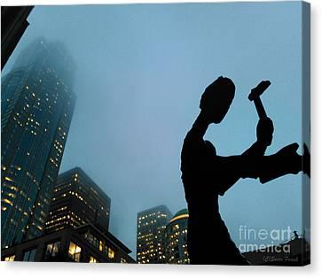 Hammering Man Seattle Canvas Print