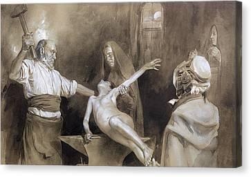 Hammering The Spleen Canvas Print by Gaston Vuillier