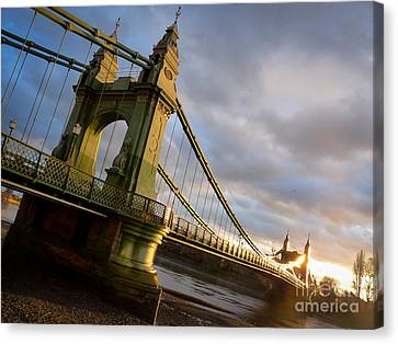 Canvas Print featuring the photograph Hammersmith Bridge In London by Peta Thames
