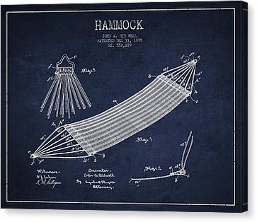 Hammock Patent Drawing From 1895 Canvas Print by Aged Pixel