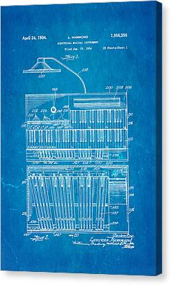 Hammond Organ Patent Art 1934 Blueprint Canvas Print