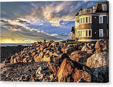 Hampton Beach Sunrise Canvas Print by Fred Larson