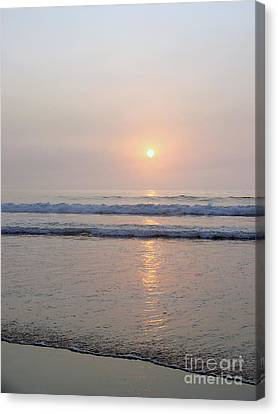 Hampton Beach Waves And Sunrise Canvas Print by Eunice Miller