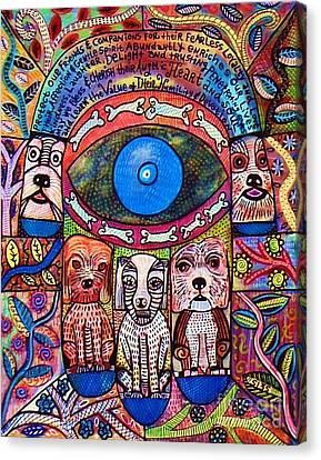Hamsa Dog Blessing' Canvas Print by Sandra Silberzweig