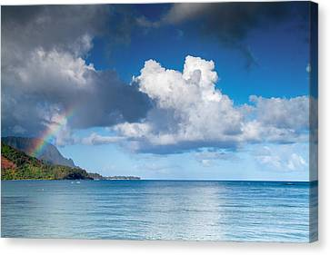 Hanalei Bay And Rainbow Canvas Print by Roger Mullenhour