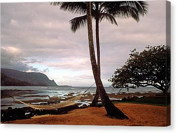 Hanalei Bay Hammock At Dawn Canvas Print by Kathy Yates