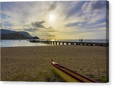 Hanalei Bay Pier Outrigger Canoe Sunset - Kauai Hawaii Canvas Print