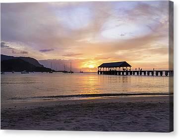 Hanalei Bay Pier Sunset 3 - Kauai Hawaii Canvas Print
