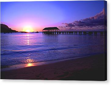 Hanalei Bay Pier Sunset Canvas Print