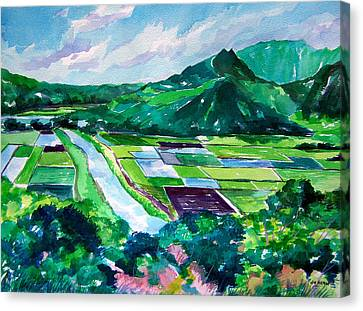 Hanalei From The Lookout Canvas Print by Jon Shepodd