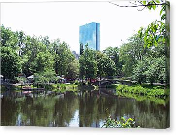 Hancock Building From Lagoon Canvas Print