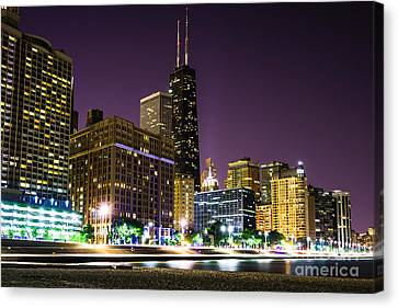 With Canvas Print - Hancock Building With Dusk Chicago Skyline by Paul Velgos
