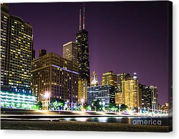 Hancock Building With Dusk Chicago Skyline Canvas Print by Paul Velgos