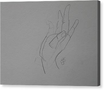 Canvas Print featuring the drawing Hand by AJ Brown