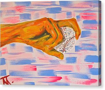 Hand And Baseball Canvas Print by Troy Thomas