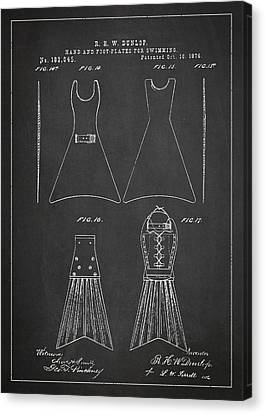 Hand And Foot Plates For Swimming Patent Drawing From 1876 Canvas Print by Aged Pixel