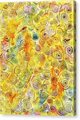 Hand-drawn Abstract Background With Spirals On Yellow Green Pink Canvas Print by Ion vincent DAnu