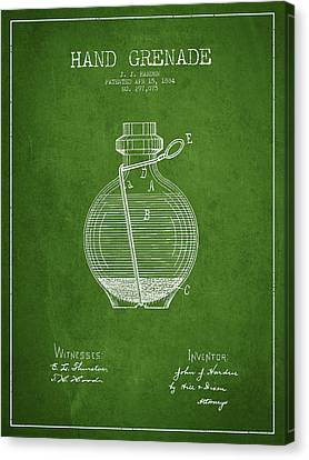 Hand Grenade Patent Drawing From 1884 - Green Canvas Print by Aged Pixel