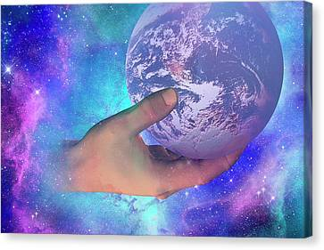 Fingertips Canvas Print - Hand Holding Earth by Carol & Mike Werner