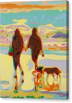 Hand In Hand On Beach With Two Dogs Oil Painting Bertram Poole Canvas Print