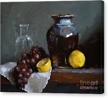 Hand-made Pottery With Fruits Canvas Print