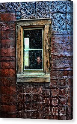 Hand On Old Window Canvas Print