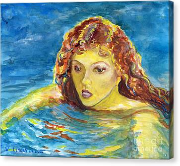Hand Painted Art Adult Female Swimmer Canvas Print by Lenora  De Lude