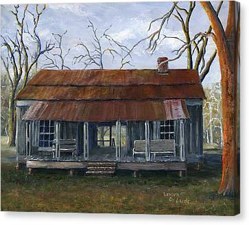 Hand Painted Art Dogtrot House In Pleasant Hill Louisiana Canvas Print by Lenora  De Lude