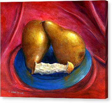 Hand Painted Art Fruit Still Life Pears Canvas Print by Lenora  De Lude