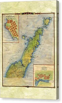 Hand Painted Map Of Door County  Canvas Print by Lisa Middleton