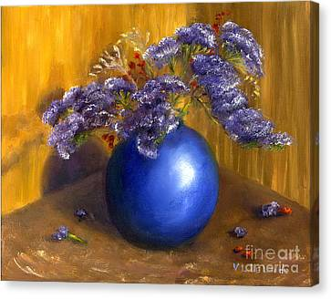 Hand Painted Still Life Blue Vase Purple Flowers Canvas Print by Lenora  De Lude