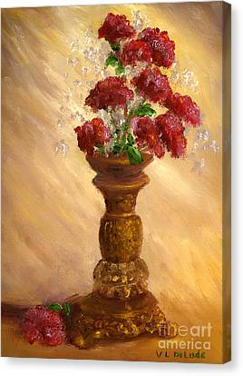 Hand Painted Still Life Red Flowers Gold Vase Canvas Print by Lenora  De Lude