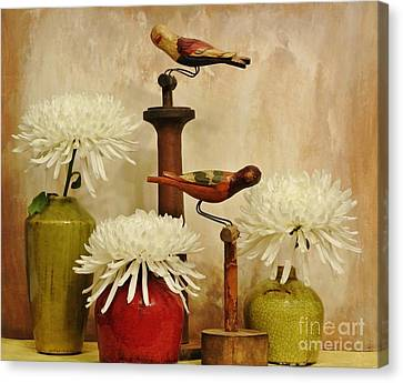 Hand Painted Wooden Birds With Mums Canvas Print by Marsha Heiken