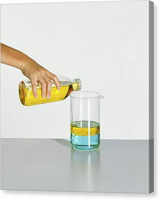 Separation Canvas Print - Hand Pouring Cooking Oil Over Water by Dorling Kindersley/uig