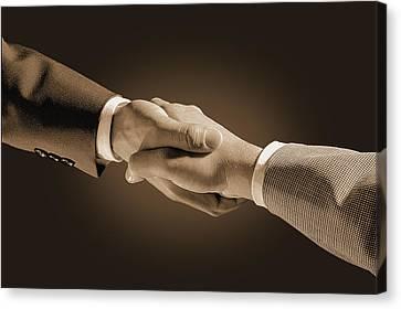Hand Shake Canvas Print by Don Hammond