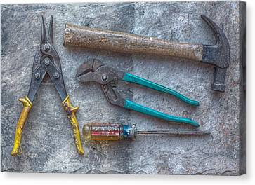 Hand Tools On Slate Still Life Canvas Print by Randy Steele