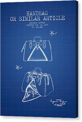 Handbag Or Similar Article Patent From 1937 - Blueprint Canvas Print by Aged Pixel